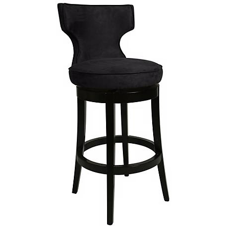 "Impacterra Augusta Black Swivel 30"" High Bar Stool"