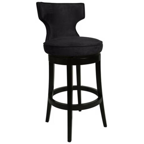 "Pastel Augusta Black Swivel 30"" High Bar Stool"