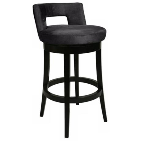 "Pastel Eureka Black 30"" High Swivel Bar Stool"