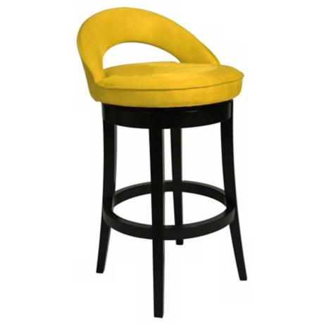 "Pastel Urbana Yellow Swivel 30"" High Bar Stool"