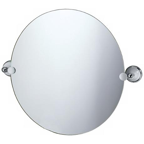 "Gatco Franciscan Chrome Round Tilt 19 1/2"" High Wall Mirror"
