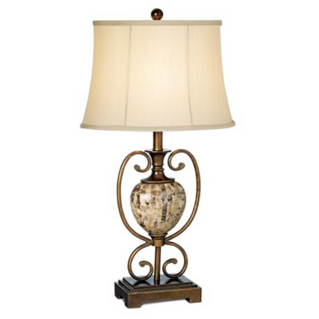Colonial Riviere Faux Marble Table Lamp