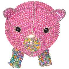 Beadworx Pink Pig Hand-Crafted Beaded Night Light