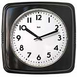 "Retro Black 9 1/2"" Square Wall Clock"