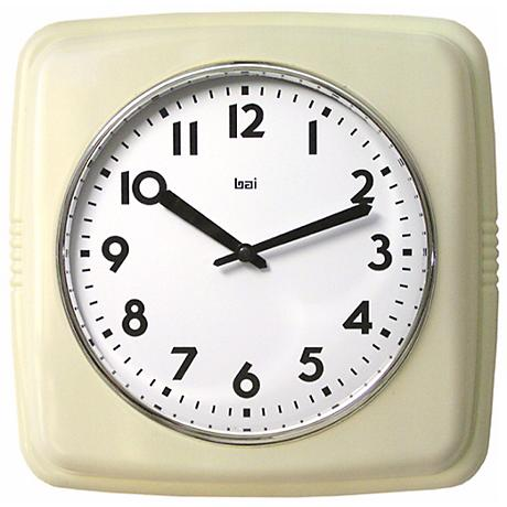 "Retro 9 1/2"" Ivory Square Wall Clock"