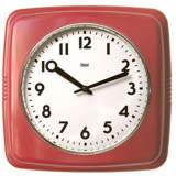"Retro Red 9 1/2"" Square Wall Clock"