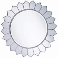"Aged Silver Sunflower 36"" Round Wall Mirror"