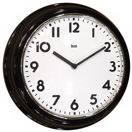 "Retro Black 13"" Wide Wall Clock"
