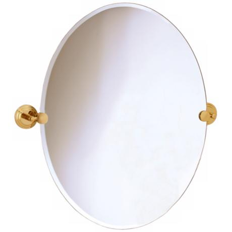 "Gatco Marina Brass Finish Oval 26 1/2"" High Wall Mirror"