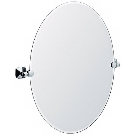 "Gatco Jewel Chrome Finish Oval 26 1/2"" High Tilt Wall Mirror"