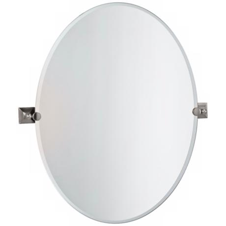 "Gatco Meridian Satin Nickel Oval 32"" High Tilt Wall Mirror"