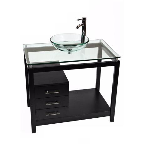 Cappuccino Clear Glass Contemporary Vanity