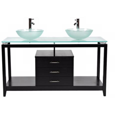 Cappuccino Frosted Glass 2-Sink Contemporary Vanity