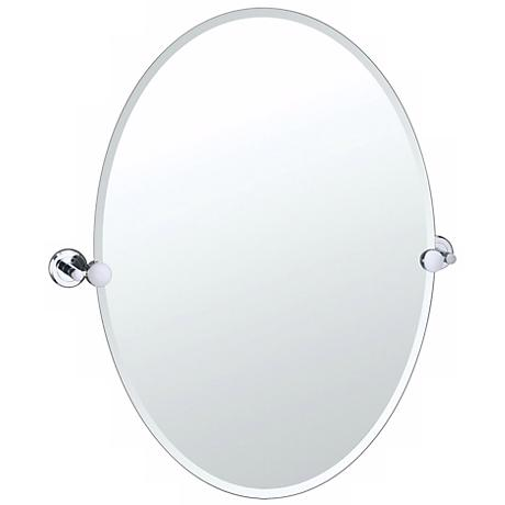 "Gatco Latitude 2 Chrome Finish 26 1/2"" High Oval Wall Mirror"