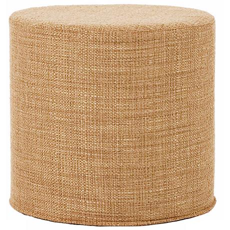 Howard Elliott Stone Woven Fabric No-Tip Cylinder Ottoman