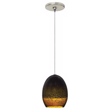 Silver Glaze Brown Glass Nickel LED Tech Lighting Mini Pendant