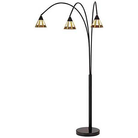 Archway Amber and Honey Tiffany Shade Floor Lamp