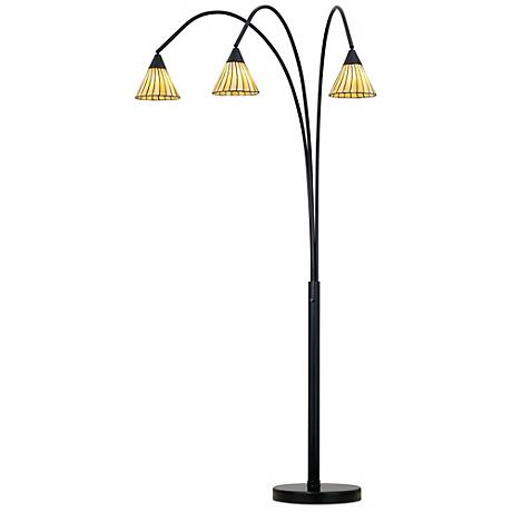 Archway Amber Lines Tiffany Shade Arc Floor Lamp