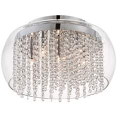 "Possini Crystal Rainfall Glass Drum 17"" Ceiling Light"
