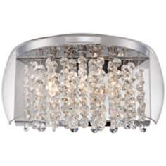 Possini Euro Crystal Rainfall Glass Half-Drum Wall Sconce