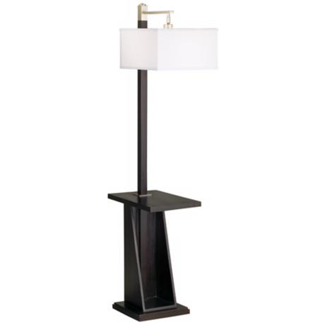 Astor Place Espresso Tray and Shelf Floor Lamp