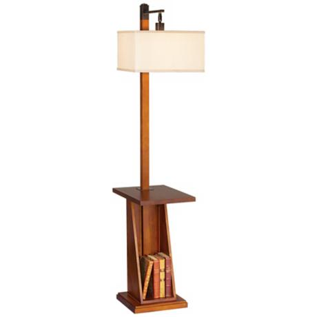 Astor Place Walnut Tray and Shelf Floor Lamp