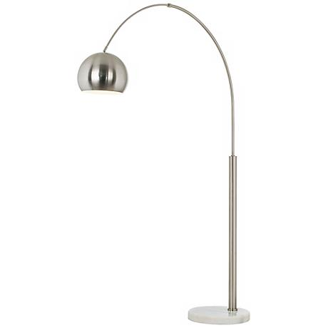 Basque Steel and Brushed Nickel Arc Floor Lamp