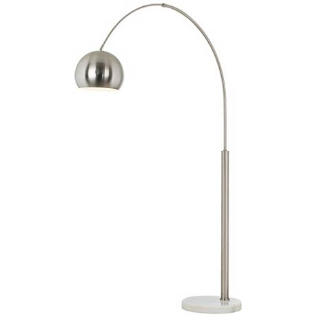 reviews summary for basque steel and brushed nickel arc floor lamp. Black Bedroom Furniture Sets. Home Design Ideas