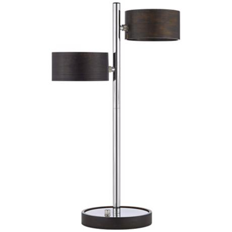 Energy Efficient  Wood Shade Metal Table Lamp
