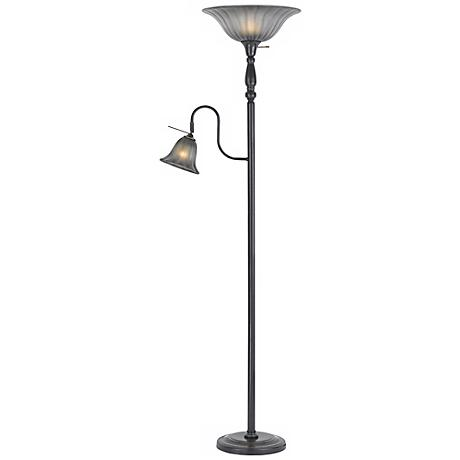 Dark Bronze Finish Torchiere with Reading Light