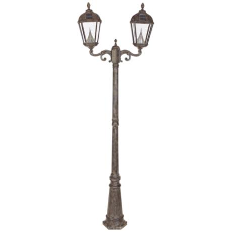 "Royal Solar LED Bronze 89"" High Outdoor Double Lamp Post"