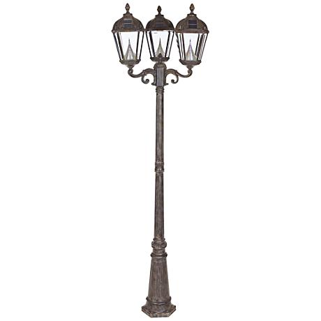 "Royal Bronze 89"" High 3-Light Solar Powered LED Post Light"