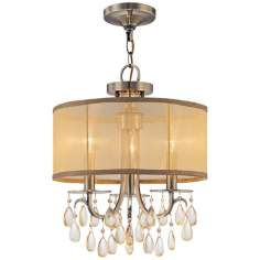 "Crystorama Hampton Collection Brass 14"" Wide Mini Chandelier"