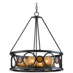 Soleil 6-Light Sunrise Amber and Bronze Iron Chandelier