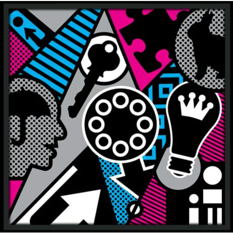 "Pop Psychology 37"" Square Black Giclee Wall Art"