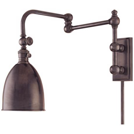monroe old bronze plug in swing arm wall light p9935 lampsplus. Black Bedroom Furniture Sets. Home Design Ideas