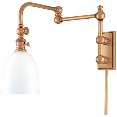 Monroe Aged Brass Plug-In Swing Arm Wall Light