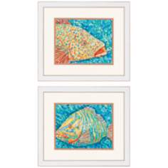 "Set of 2 Grouper Fish 22"" Wide Framed Wall Art"