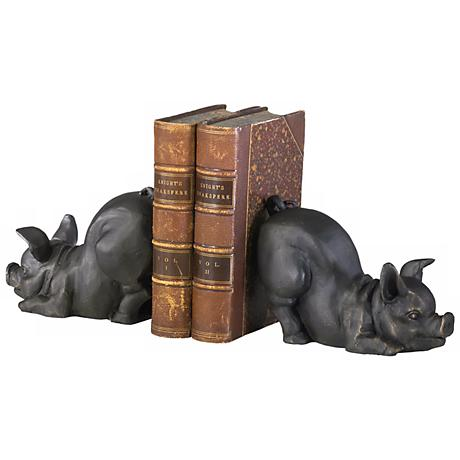 Cast Iron Old World Finish Piggy Bookends Set