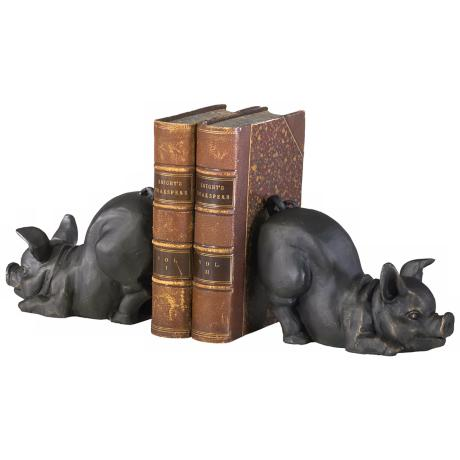 Cast Iron Old World Finish Piggy Bookends