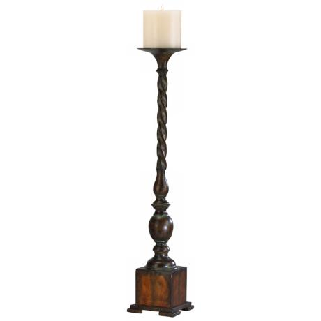 Medium Quaker Candleholder With Rust and Verde Finish