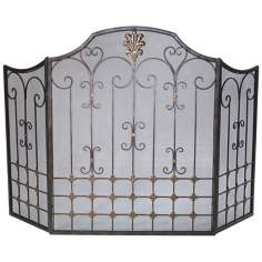Bronze Fire Screen With Gold Accents