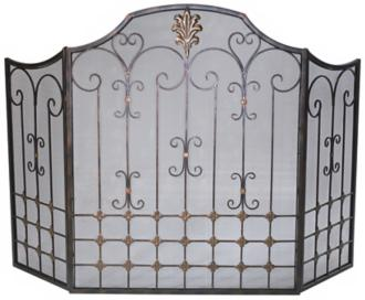 bronze fire screen with gold accents (r0245)