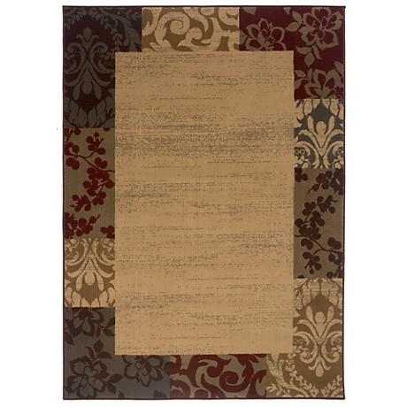 Riverwoods Collection Fern Border Area Rug