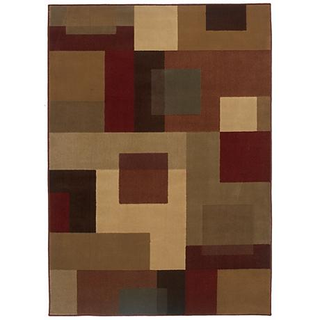 Riverwoods Collection Autumn Squares Area Rug