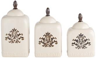 set of 3 white ceramic canisters with floral detailing (r0510)