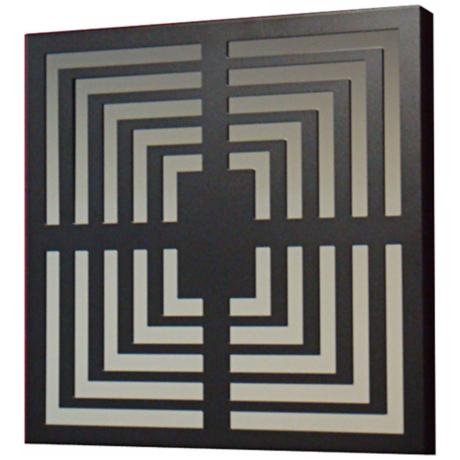 "Black Squares Black Finish 19"" Square Wall Mirror"