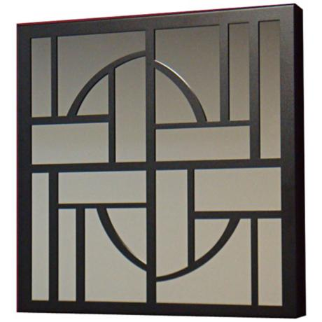 "Abstract Shapes Black Finish 19"" Square Wall Mirror"