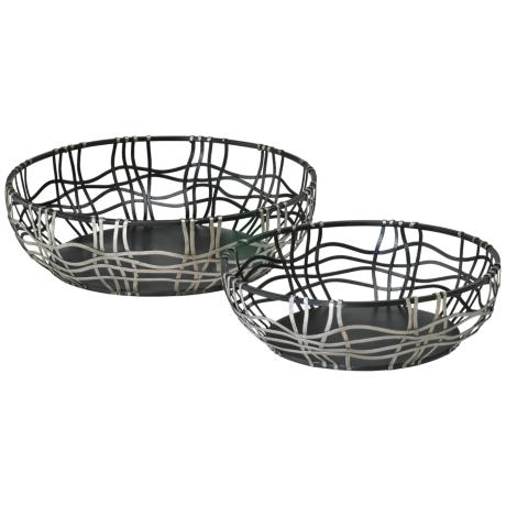 Set of 2 Silver and Bronze Iron Suzanne Baskets