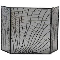Black and Silver Iron Finley Fire Screen